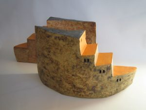 dos obras de ceramica con oxidos y engobes