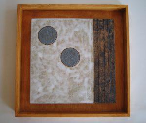 soporte de ceramica con dos circulos