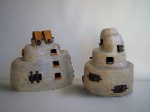 escultures de gres amb engalbes i oxids